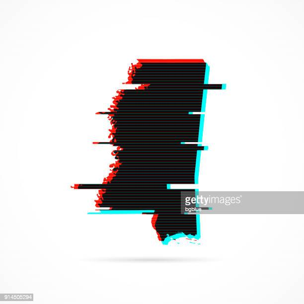 mississippi map in distorted glitch style. modern trendy effect - mississippi stock illustrations, clip art, cartoons, & icons
