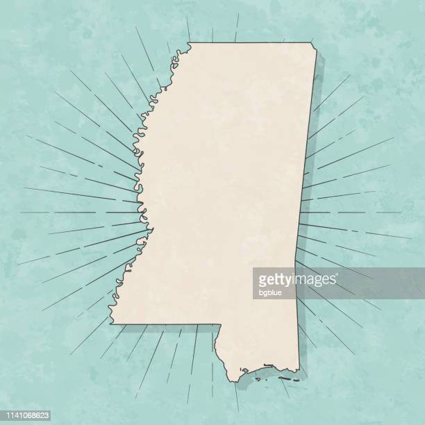 mississippi map in retro vintage style - old textured paper - mississippi stock illustrations