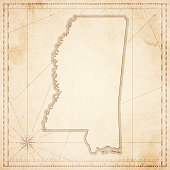 Mississippi map in retro vintage style - old textured paper