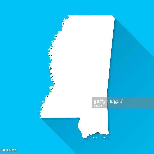 mississippi map on blue background, long shadow, flat design - mississippi stock illustrations, clip art, cartoons, & icons