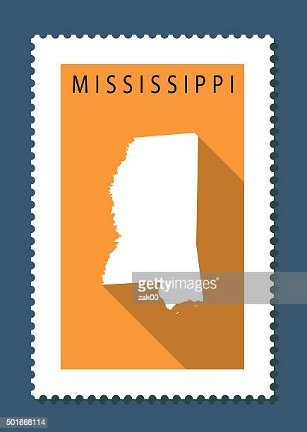 mississippi map on orange background, long shadow, flat design,stamp - mississippi stock illustrations, clip art, cartoons, & icons