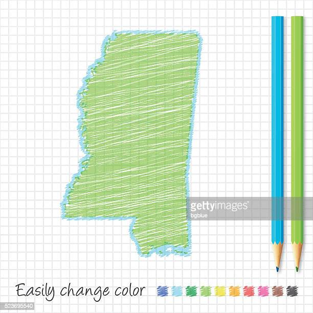 mississippi map sketch with color pencils, on grid paper - mississippi stock illustrations, clip art, cartoons, & icons