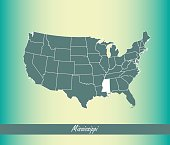 Mississippi map vector outline illustration highlighted in USA map vector blue background