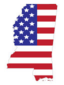 Mississippi map with american flag