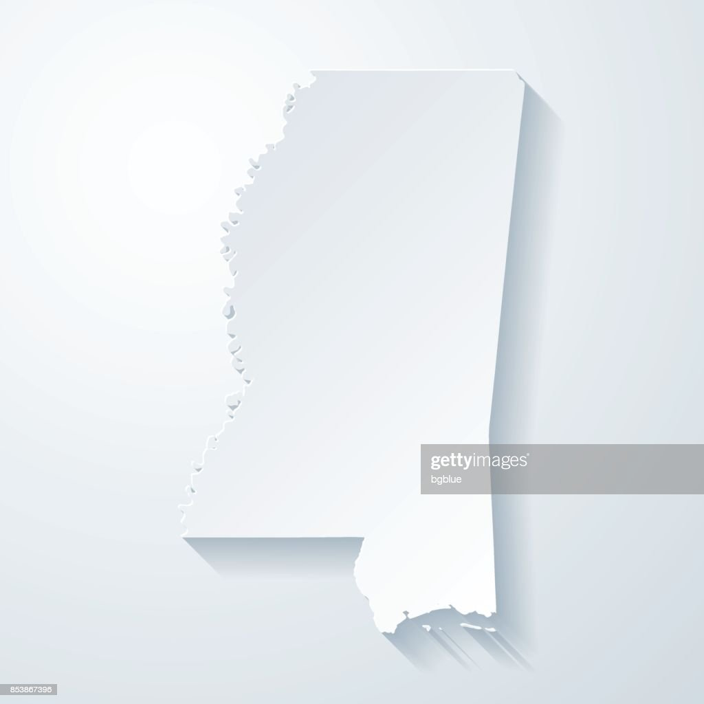 Mississippi map with paper cut effect on blank background