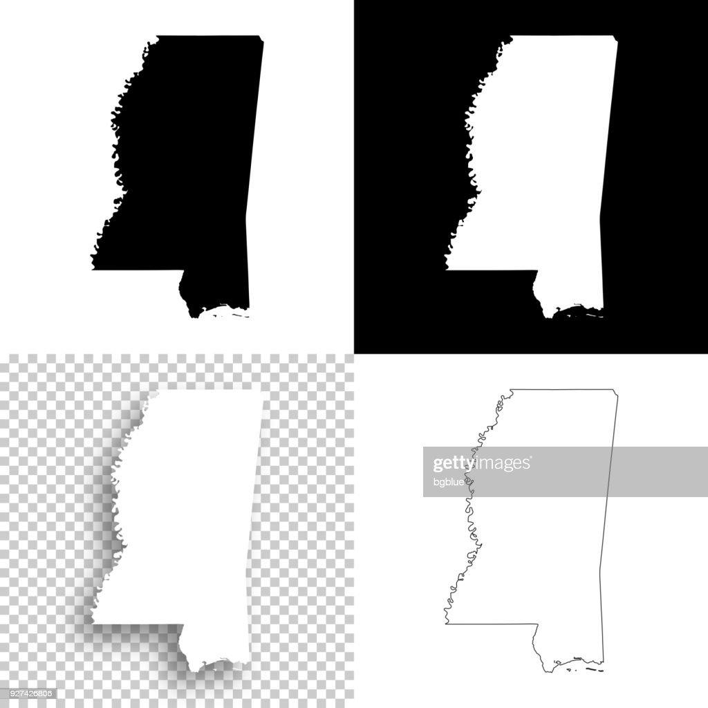 Mississippi maps for design - Blank, white and black backgrounds