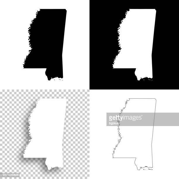 mississippi maps for design - blank, white and black backgrounds - mississippi stock illustrations, clip art, cartoons, & icons