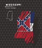 Mississippi national vector map with sketch chalk flag. Sketch chalk hand drawn illustration