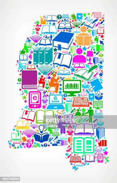 Mississippi Reading Books and Education Vector Icons Background