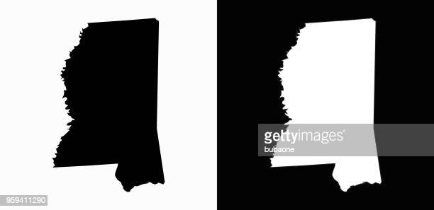 mississippi state black and white simple map - mississippi stock illustrations, clip art, cartoons, & icons