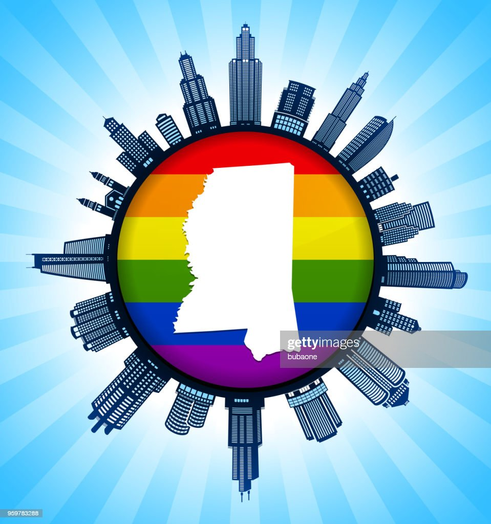 Mississippi State Map on Gay Pride City Skyline Background : Vector Art