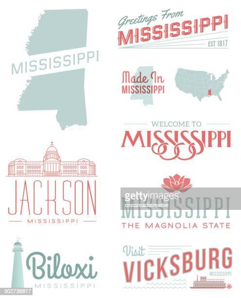 mississippi typography - mississippi stock illustrations, clip art, cartoons, & icons