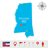 Mississippi Vector Map Isolated on White Background. Detailed Silhouette of Mississippi. Official Flag of Mississippi
