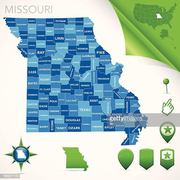 missouri county map - missouri stock illustrations