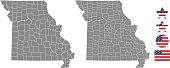 Missouri county map vector outline in gray background. Missouri state of USA map with counties names labeled and United States flag icon vector illustration designs