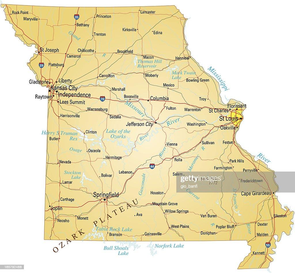 Sedalia Missouri Map.Missouri Map Design With White Background Vector Art Getty Images