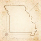 Missouri map in retro vintage style - old textured paper