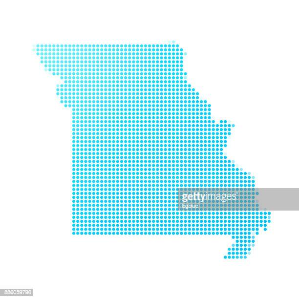 missouri map of blue dots on white background - missouri stock illustrations