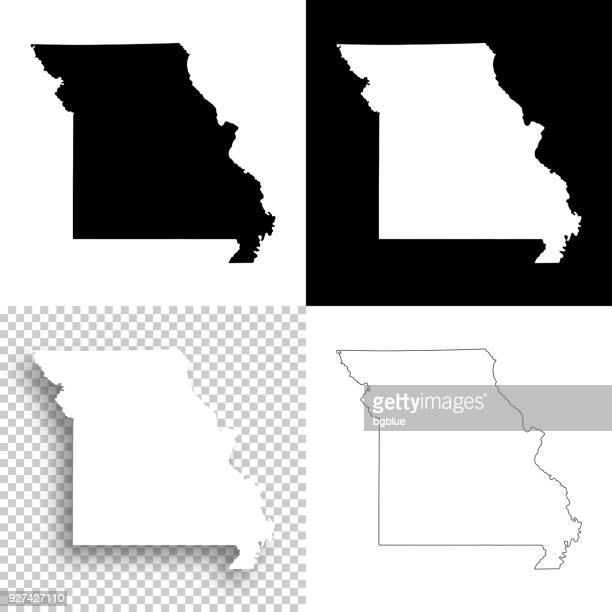 missouri maps for design - blank, white and black backgrounds - missouri stock illustrations