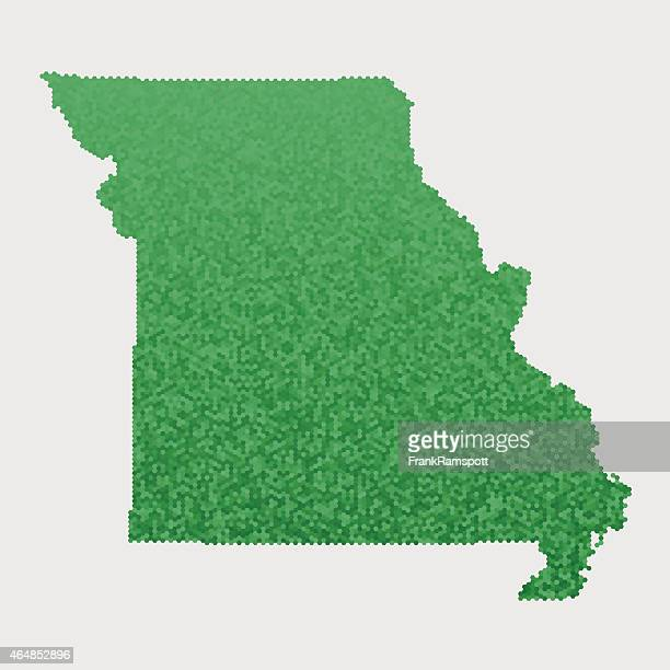 Missouri State Map Green Hexagon Pattern