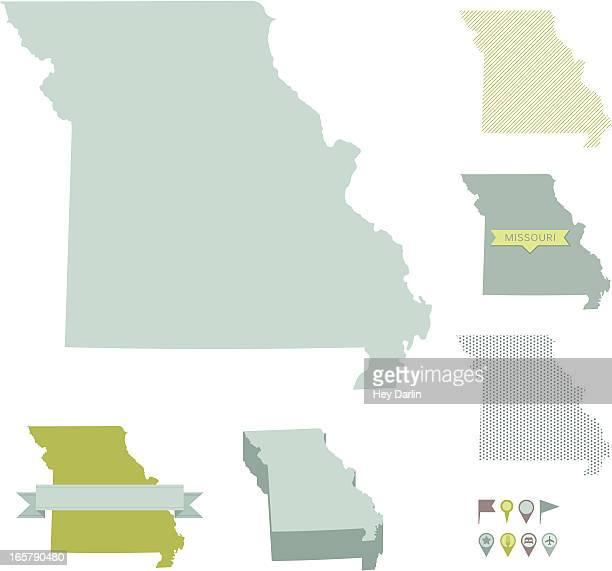 missouri state maps - missouri stock illustrations