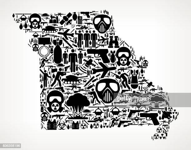 Missouri War and Modern Warfare Vector Icon Pattern