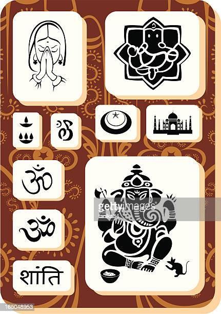 mistic india - ganesha stock illustrations