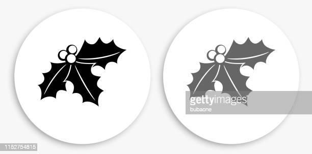 mistletoe black and white round icon - mistletoe stock illustrations
