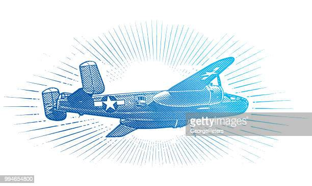 ww2 mitchell b-25 medium bomber - d day stock illustrations