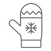 Mitten thin line icon, winter and clothes, glove sign, vector graphics, a linear pattern on a white background.