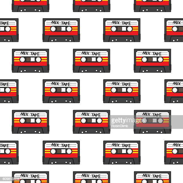 mix cassette tapes seamless pattern - cassette stock illustrations, clip art, cartoons, & icons