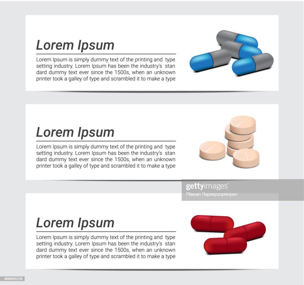 Mix Medicine Pills With Text Background Banner Vector Design