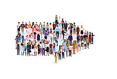 mix race people group different occupation standing together in arrow shape pointing direction concept male female workers full length horizontal banner flat white background