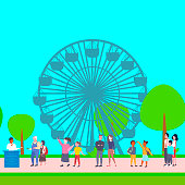 mix race people standing line queue buying tickets to ferris wheel male female cartoon characters walking city park having fun landscape background full length flat