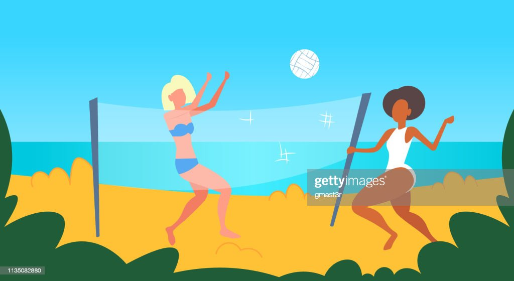mix race women couple playing volleyball girls with volley ball having fun on sea beach active lifestyle summer vacation concept female cartoon characters full length seaside horizontal