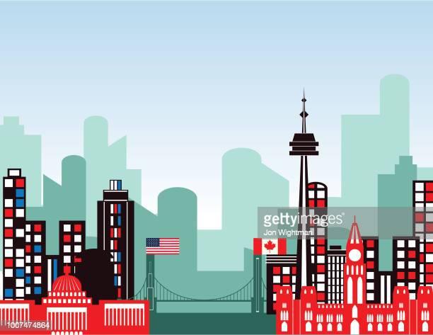 Gemischte Stadtbild mit US-amerikanischen und kanadischen Gebäuden.