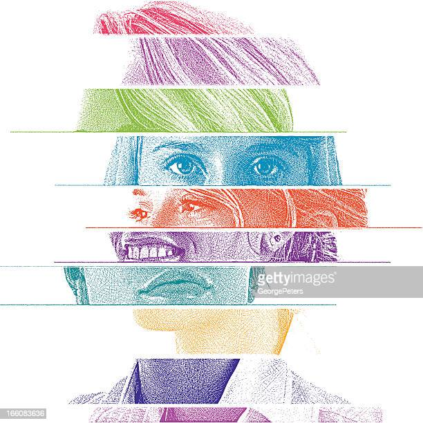 mixed emotions - human face stock illustrations