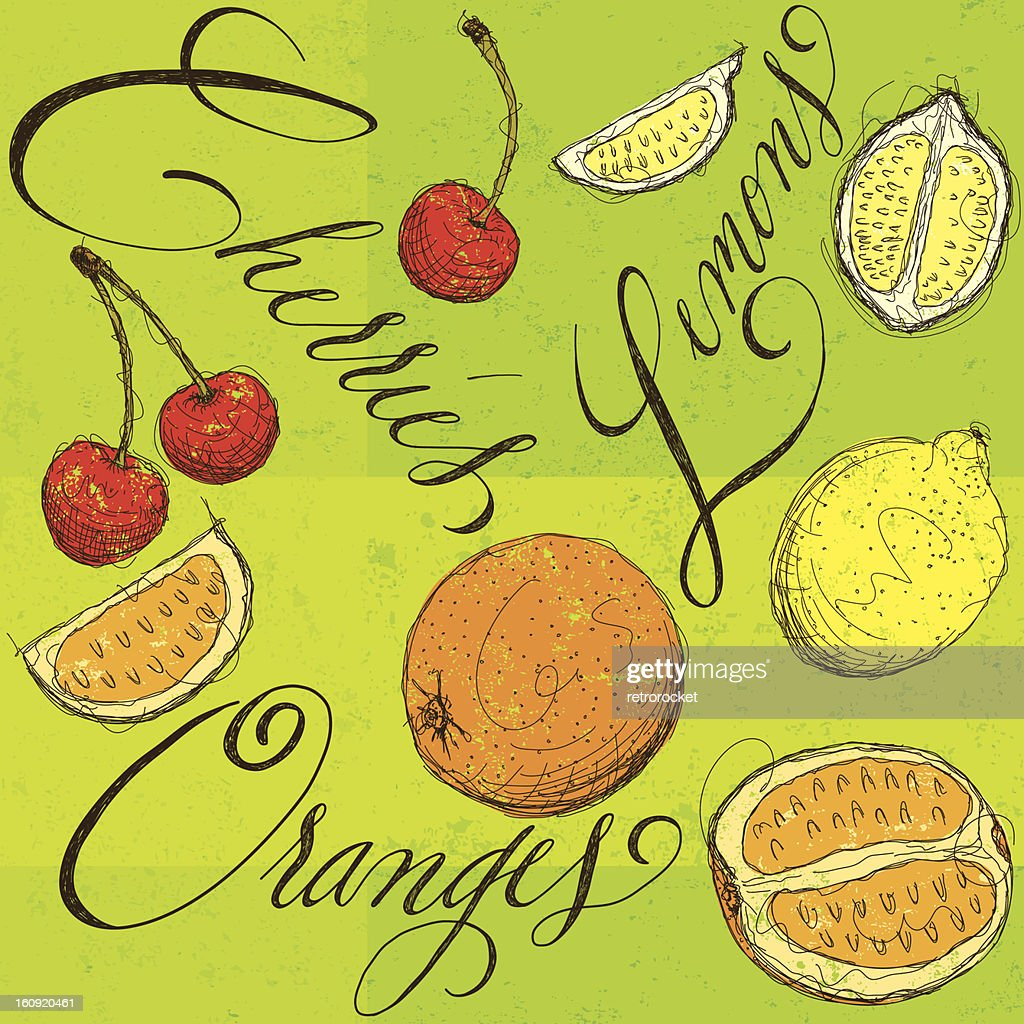 Mezcla de frutas con caligrafía : Arte vectorial