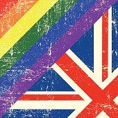 Mixed grunge gay and english flag.