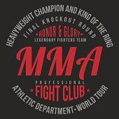 MMA, Mixed Martial Arts typography for t-shirt print. Sports, athletic t-shirt graphics