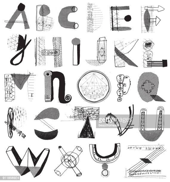 mixed media alphabet letters - alphabet stock illustrations