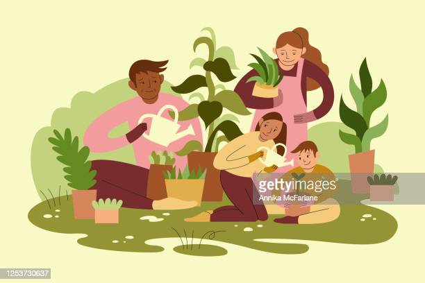 mixed race family gardening together - green thumb stock illustrations