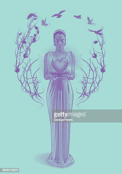 mixed race romance goddess holding glowing heart. - me too social movement stock illustrations, clip art, cartoons, & icons
