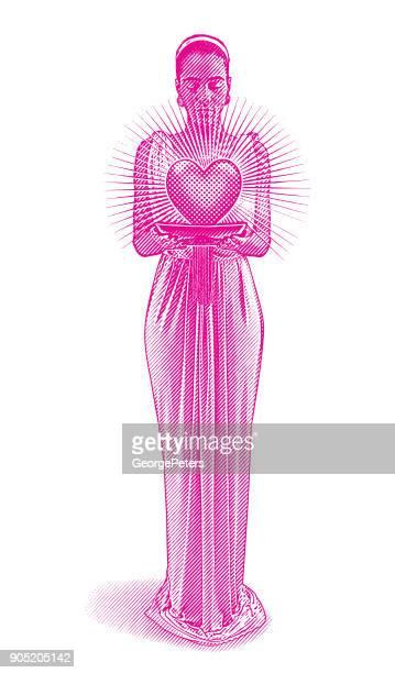 mixed race romance goddess holding glowing heart. - roman goddess stock illustrations, clip art, cartoons, & icons