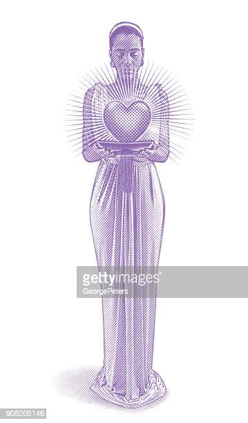 mixed race romance goddess holding glowing heart. - goddess stock illustrations, clip art, cartoons, & icons