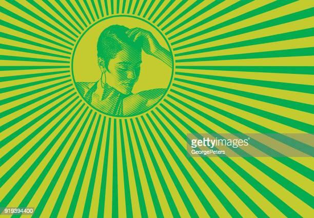 mixed race woman and psychedelic pattern - samba dancing stock illustrations, clip art, cartoons, & icons