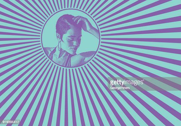 Mixed race woman and psychedelic pattern