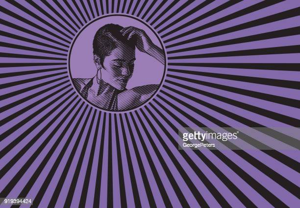 mixed race woman and psychedelic pattern - salsa music stock illustrations, clip art, cartoons, & icons