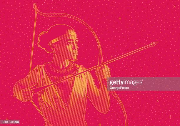 mixed race woman heroine aiming bow and arrow. - warrior person stock illustrations, clip art, cartoons, & icons