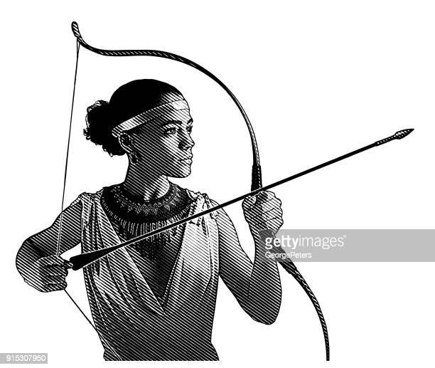 mixed race woman heroine aiming bow and arrow. - archery stock illustrations